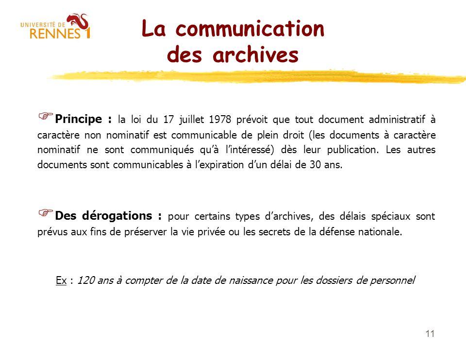 La communication des archives