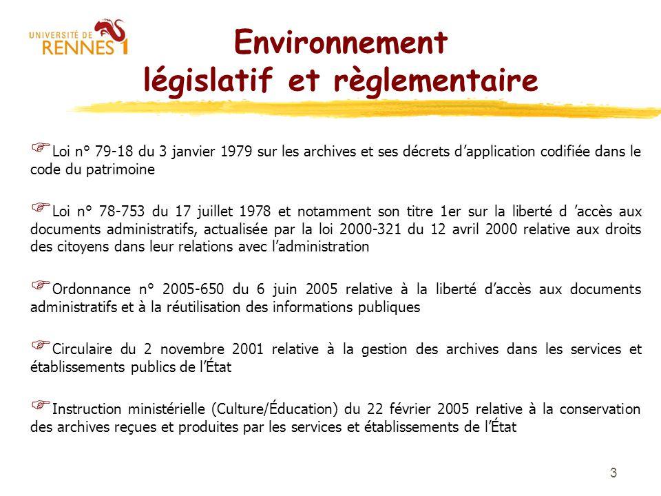Environnement législatif et règlementaire