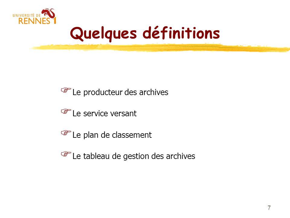 Quelques définitions Le producteur des archives Le service versant