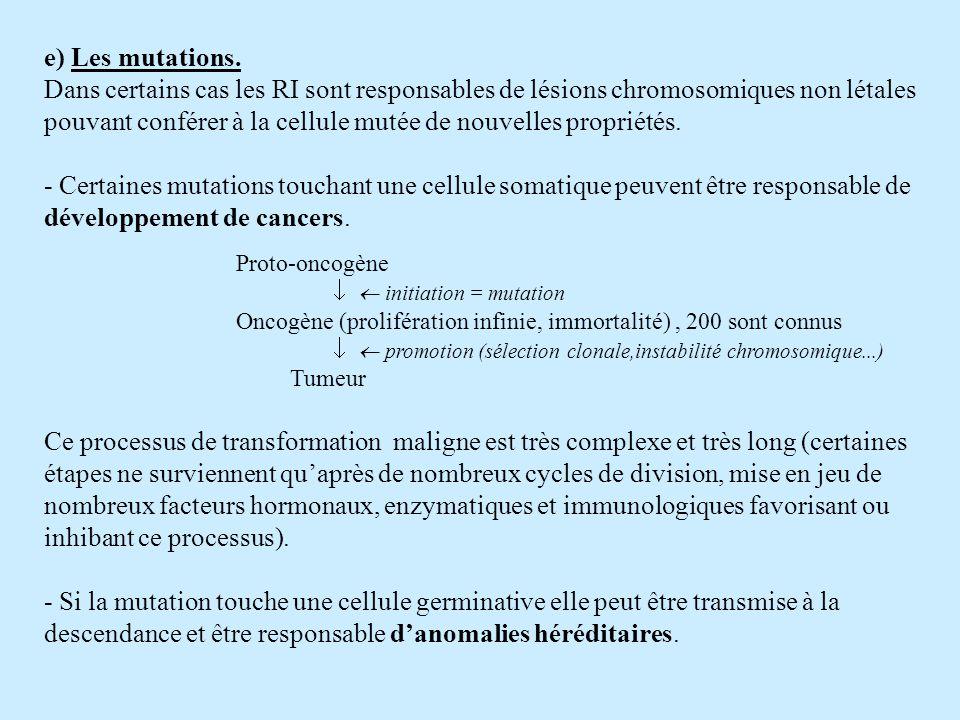 e) Les mutations.