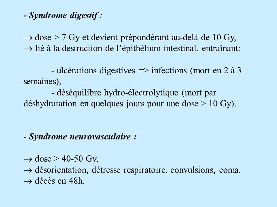 - Syndrome digestif :  dose > 7 Gy et devient prépondérant au-delà de 10 Gy, lié à la destruction de l'épithélium intestinal, entraînant: