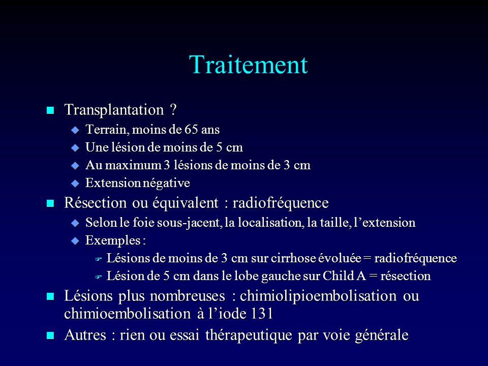 Traitement Transplantation Résection ou équivalent : radiofréquence