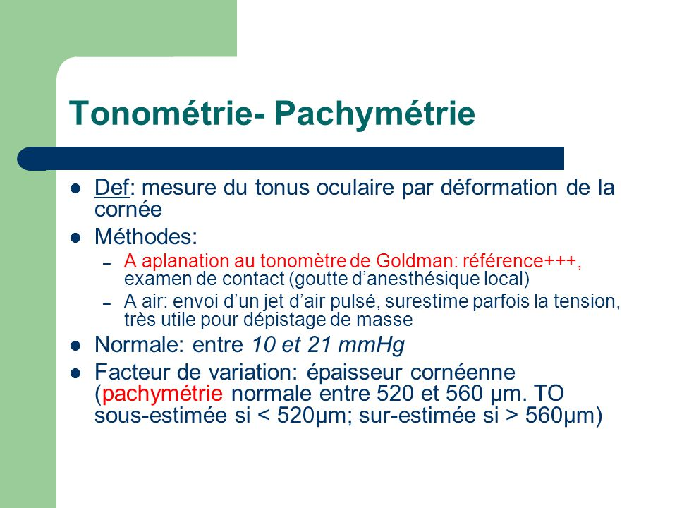 Tonométrie- Pachymétrie