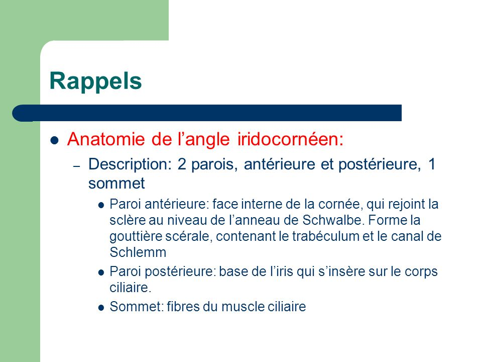 Rappels Anatomie de l'angle iridocornéen: