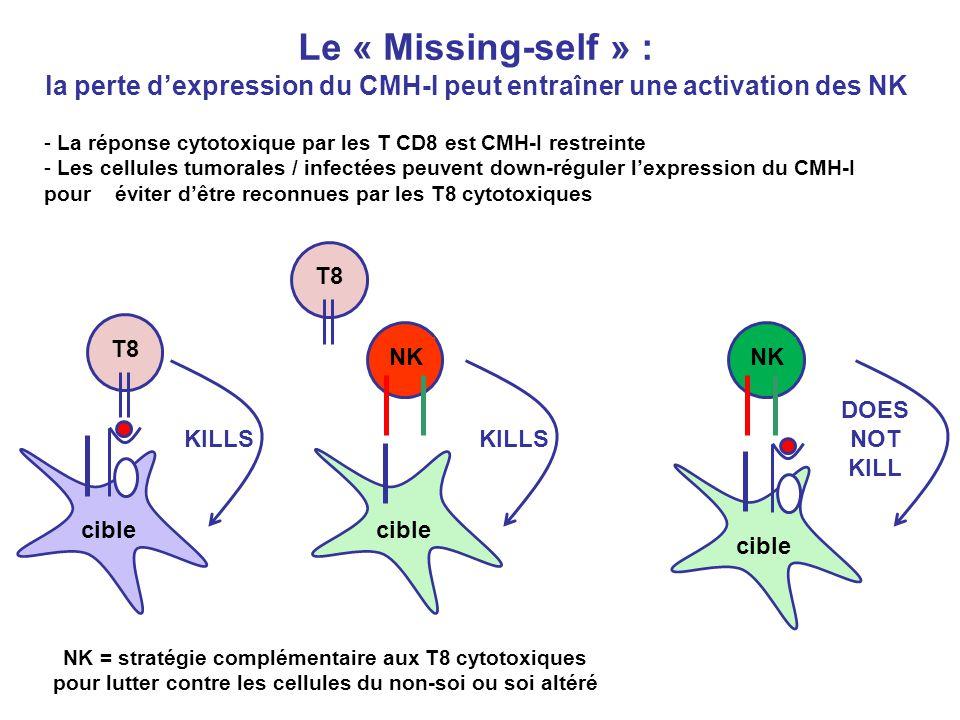 la perte d'expression du CMH-I peut entraîner une activation des NK
