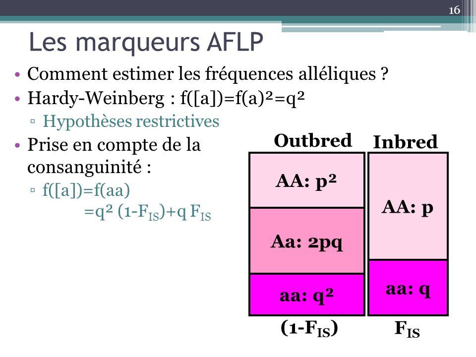 Les marqueurs AFLP Comment estimer les fréquences alléliques