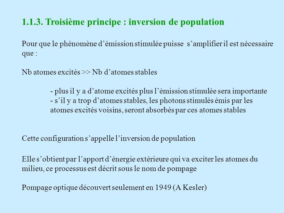 1.1.3. Troisième principe : inversion de population