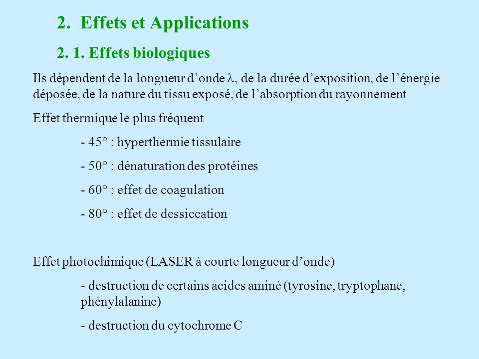2. Effets et Applications