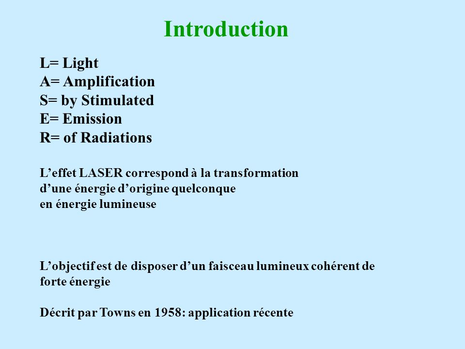 Introduction L= Light A= Amplification S= by Stimulated E= Emission