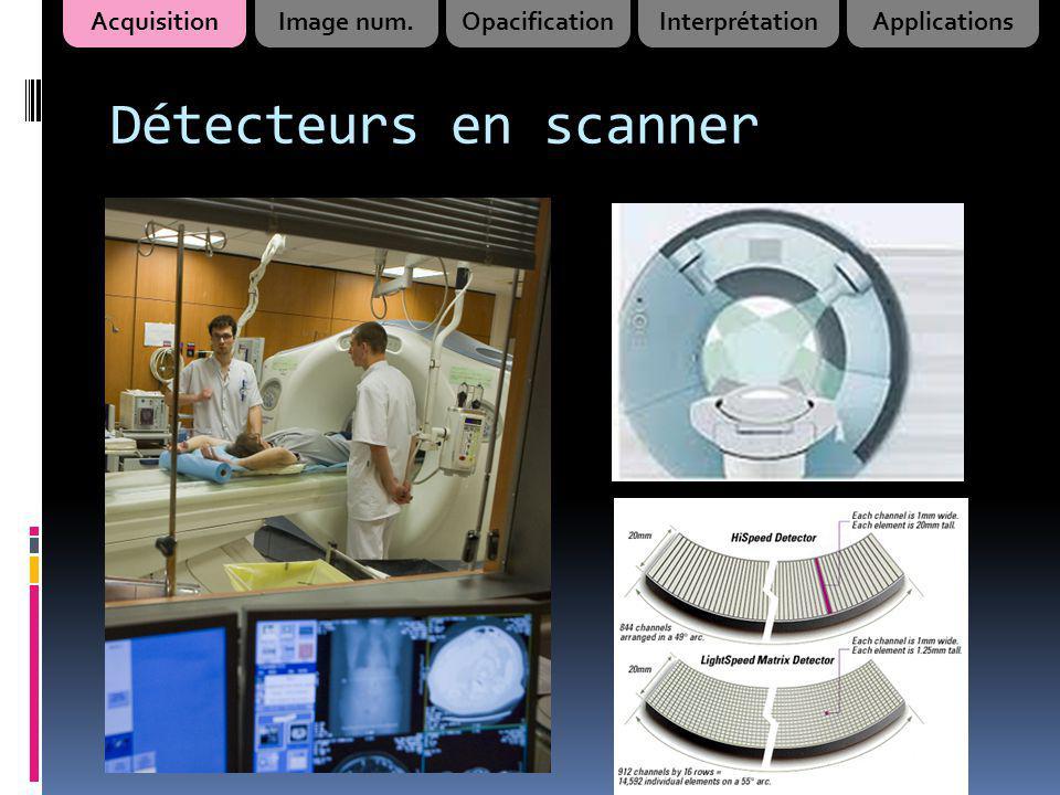 Détecteurs en scanner Acquisition Image num. Opacification