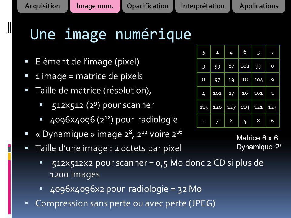 Une image numérique Elément de l'image (pixel)