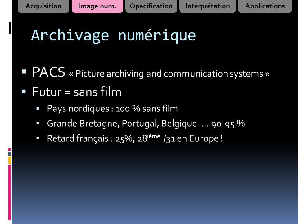 Acquisition Image num. Opacification. Interprétation. Applications. Archivage numérique. PACS « Picture archiving and communication systems »