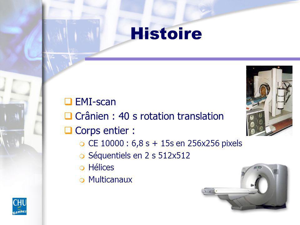 Histoire EMI-scan Crânien : 40 s rotation translation Corps entier :