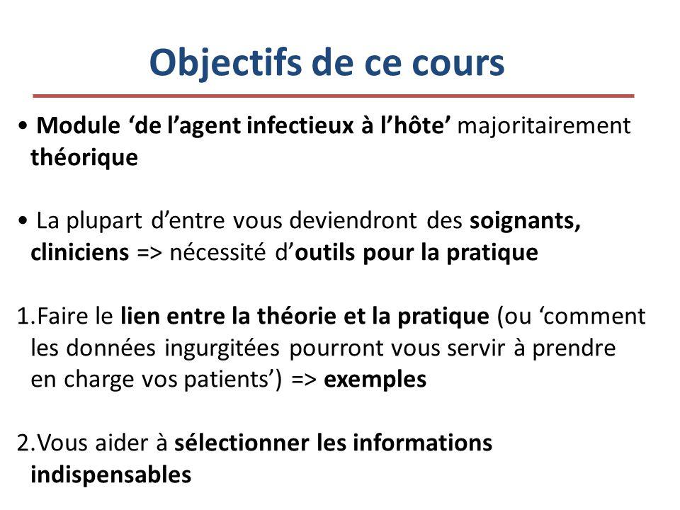 Objectifs de ce cours Module 'de l'agent infectieux à l'hôte' majoritairement théorique.