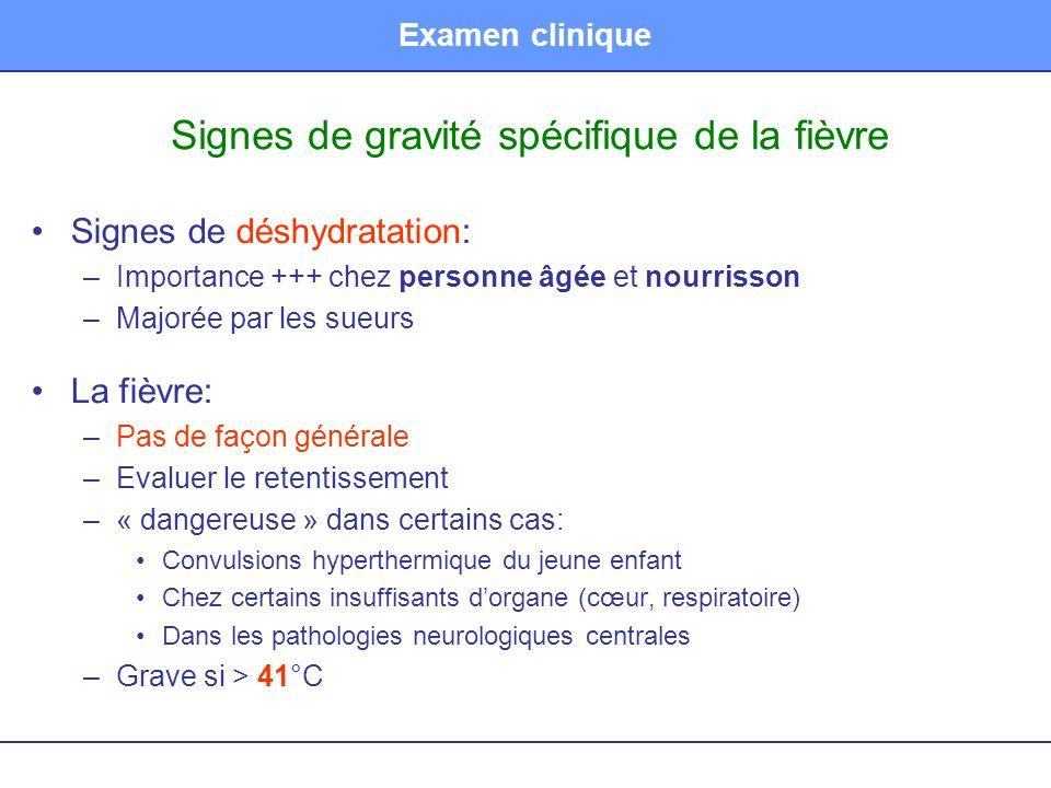 Signes de gravité spécifique de la fièvre