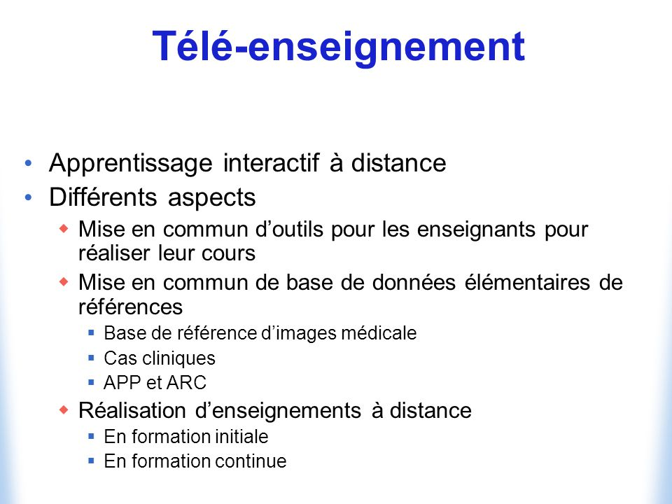 Télé-enseignement Apprentissage interactif à distance