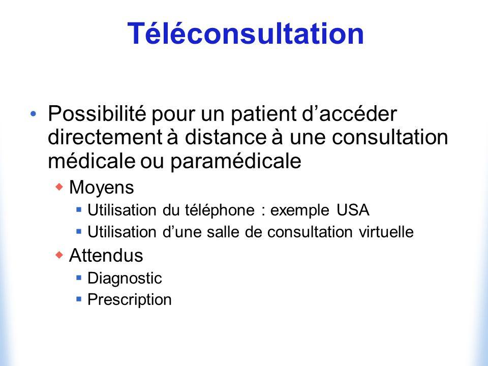 Téléconsultation Possibilité pour un patient d'accéder directement à distance à une consultation médicale ou paramédicale.
