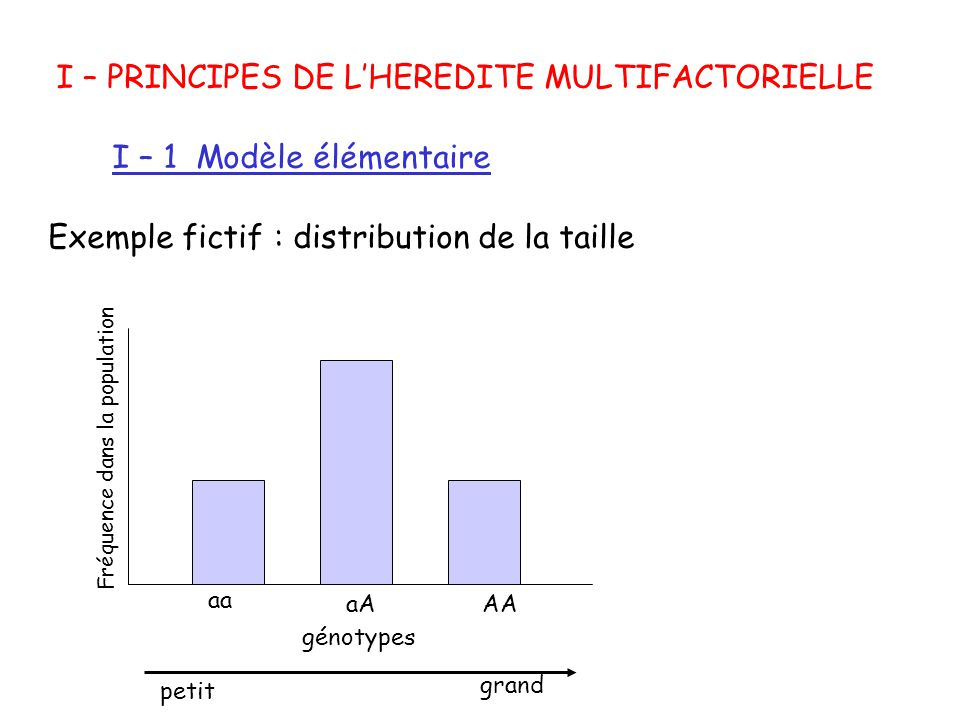 I – PRINCIPES DE L'HEREDITE MULTIFACTORIELLE