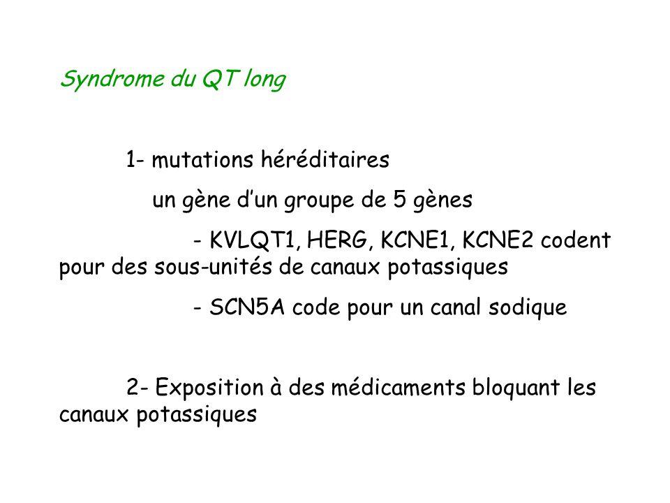 Syndrome du QT long 1- mutations héréditaires. un gène d'un groupe de 5 gènes.