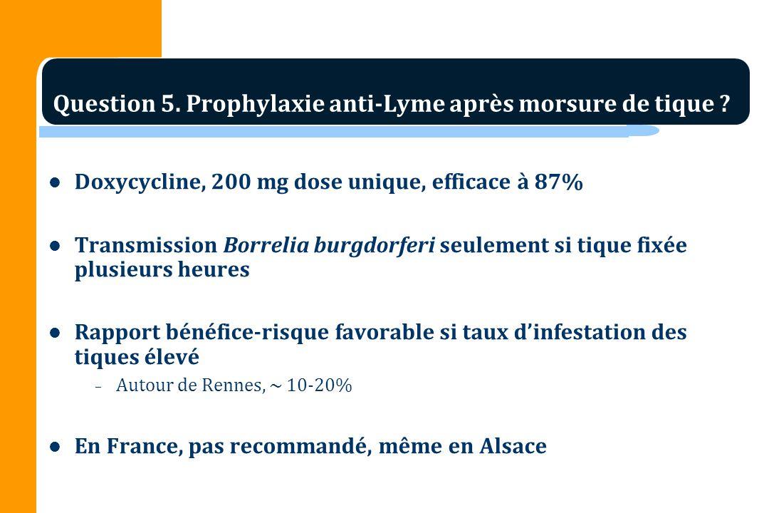 Question 5. Prophylaxie anti-Lyme après morsure de tique