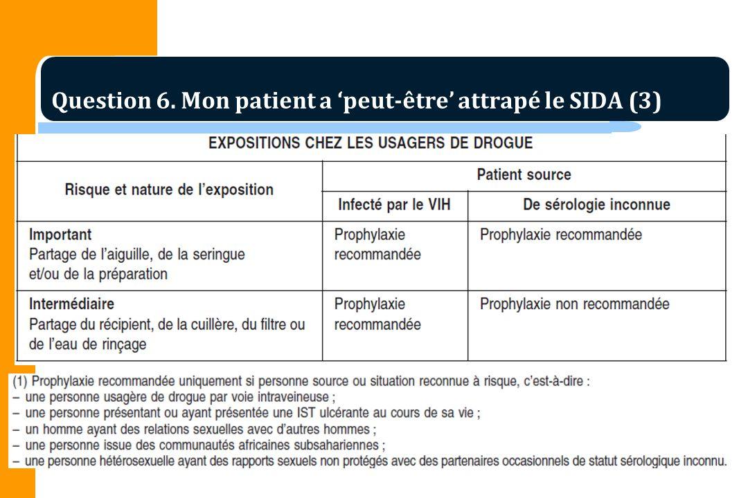 Question 6. Mon patient a 'peut-être' attrapé le SIDA (3)