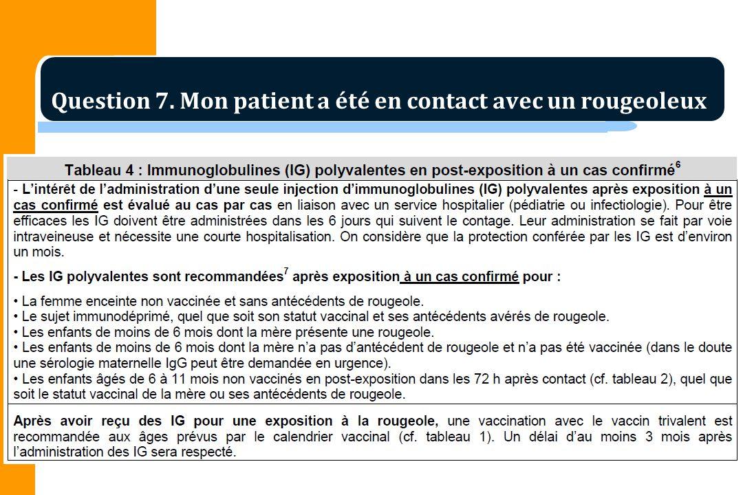 Question 7. Mon patient a été en contact avec un rougeoleux