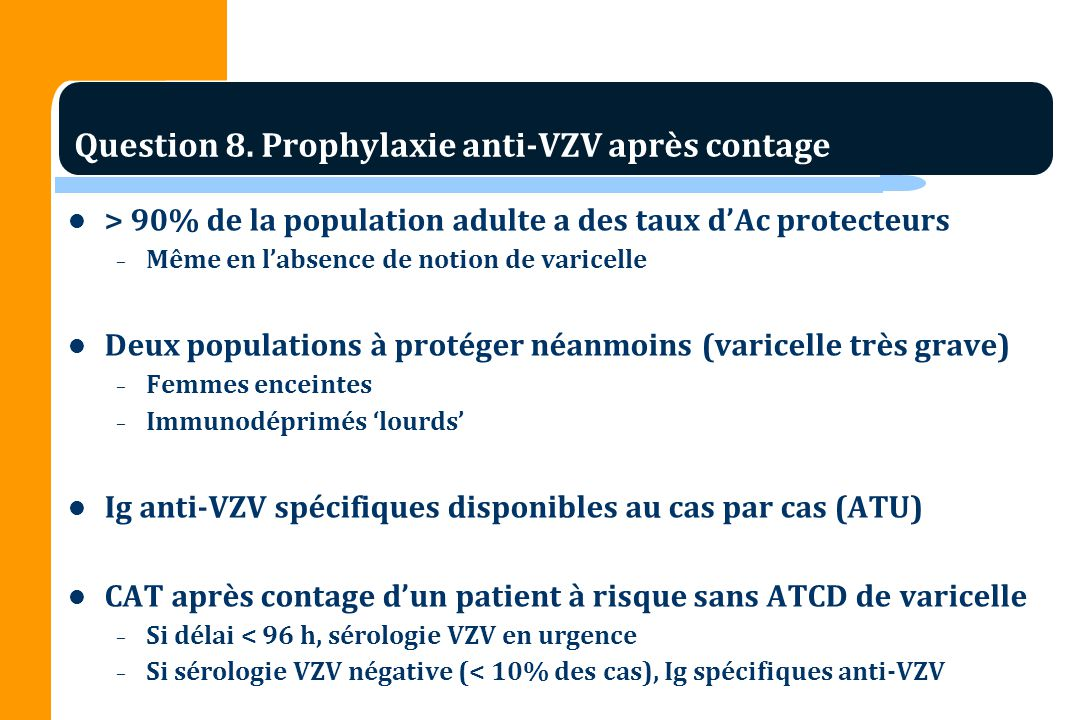 Question 8. Prophylaxie anti-VZV après contage