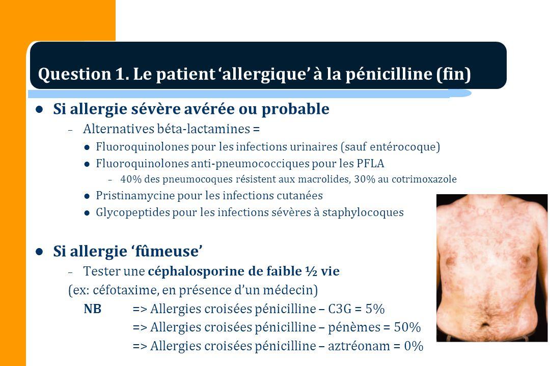 Question 1. Le patient 'allergique' à la pénicilline (fin)
