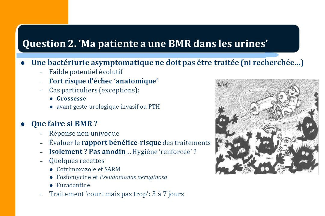 Question 2. 'Ma patiente a une BMR dans les urines'