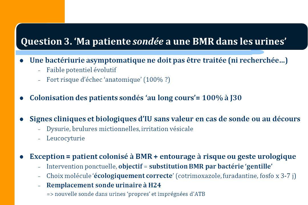 Question 3. 'Ma patiente sondée a une BMR dans les urines'
