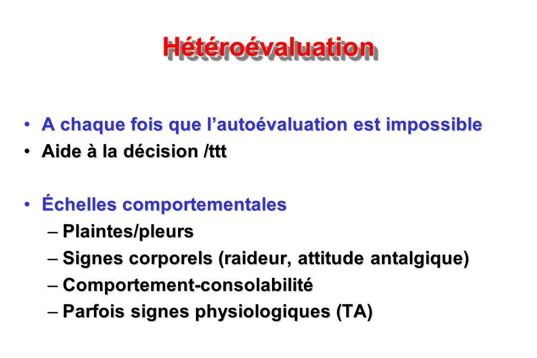 Hétéroévaluation A chaque fois que l'autoévaluation est impossible
