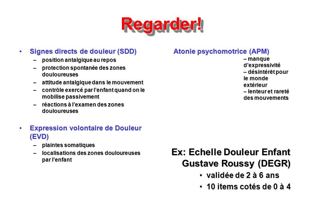 Regarder! Ex: Echelle Douleur Enfant Gustave Roussy (DEGR)