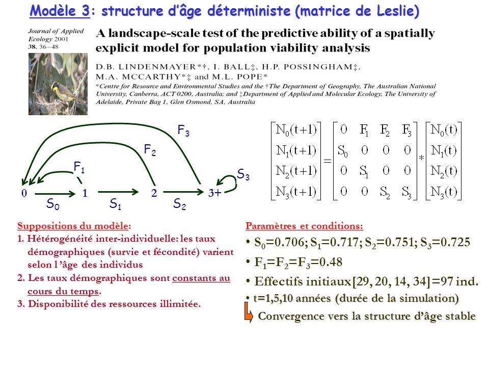 Modèle 3: structure d'âge déterministe (matrice de Leslie)