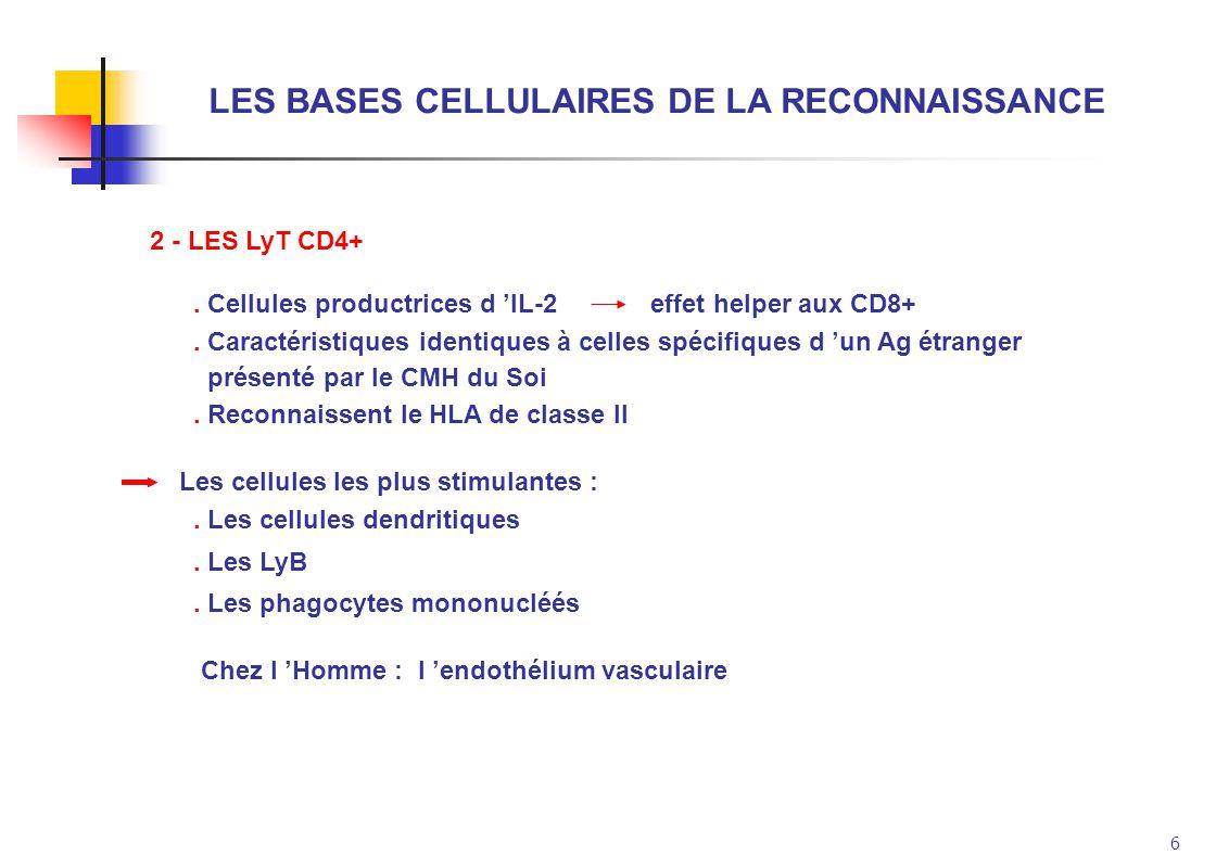 LES BASES CELLULAIRES DE LA RECONNAISSANCE