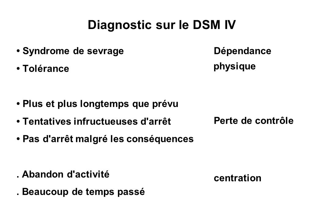 Diagnostic sur le DSM IV