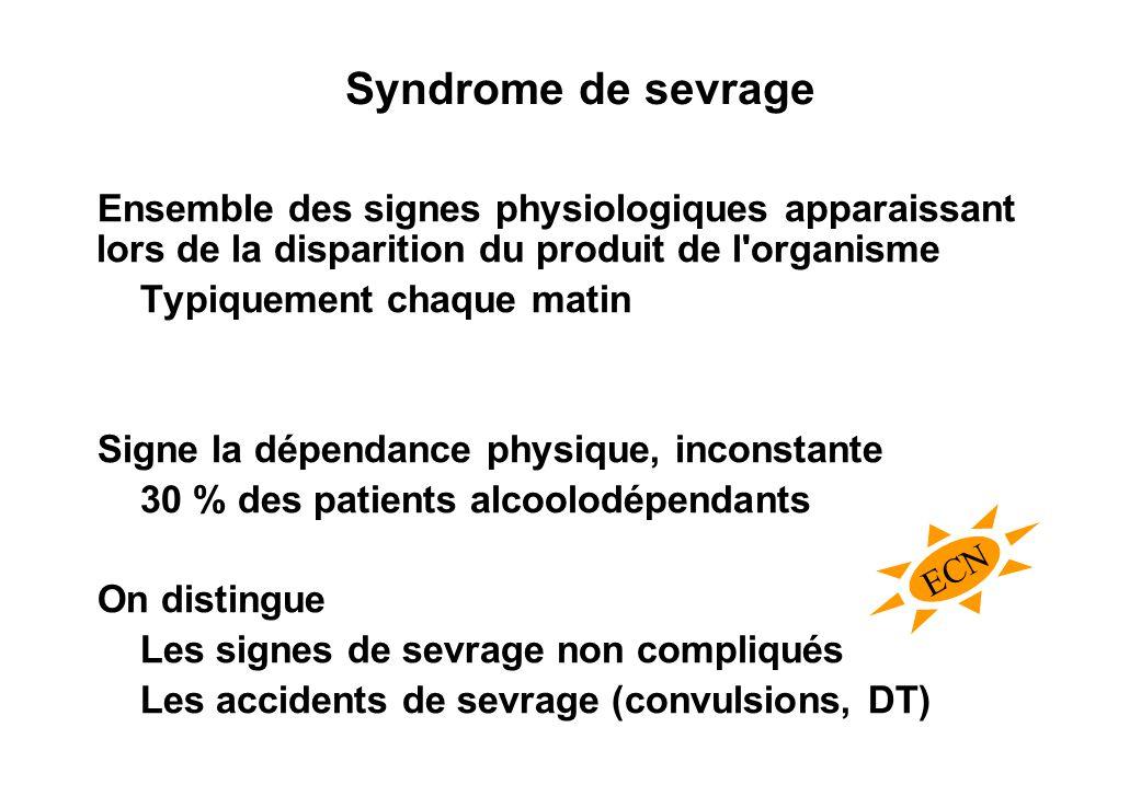 Syndrome de sevrage Ensemble des signes physiologiques apparaissant lors de la disparition du produit de l organisme.