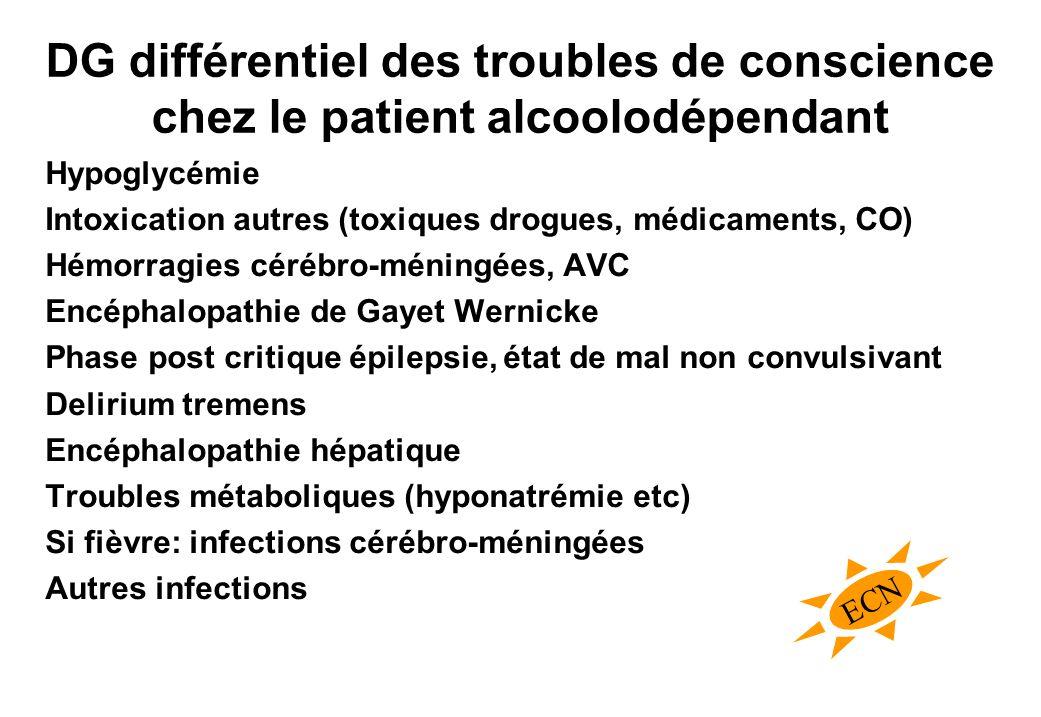 DG différentiel des troubles de conscience chez le patient alcoolodépendant