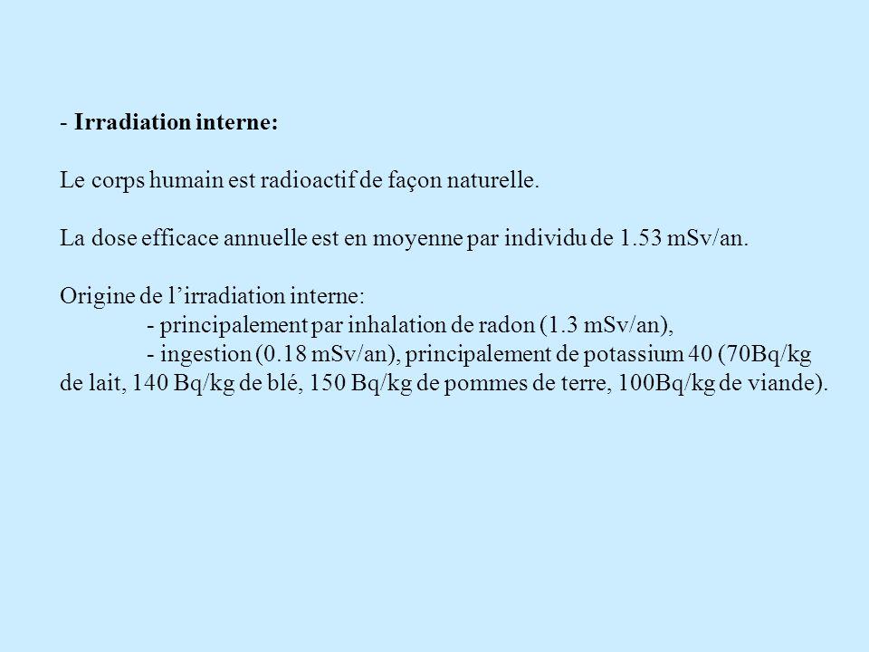 Irradiation interne: Le corps humain est radioactif de façon naturelle. La dose efficace annuelle est en moyenne par individu de 1.53 mSv/an.