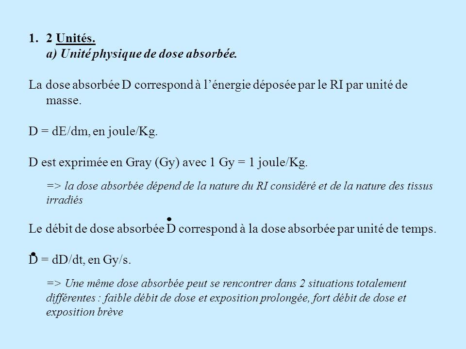 2 Unités. a) Unité physique de dose absorbée. La dose absorbée D correspond à l'énergie déposée par le RI par unité de masse.