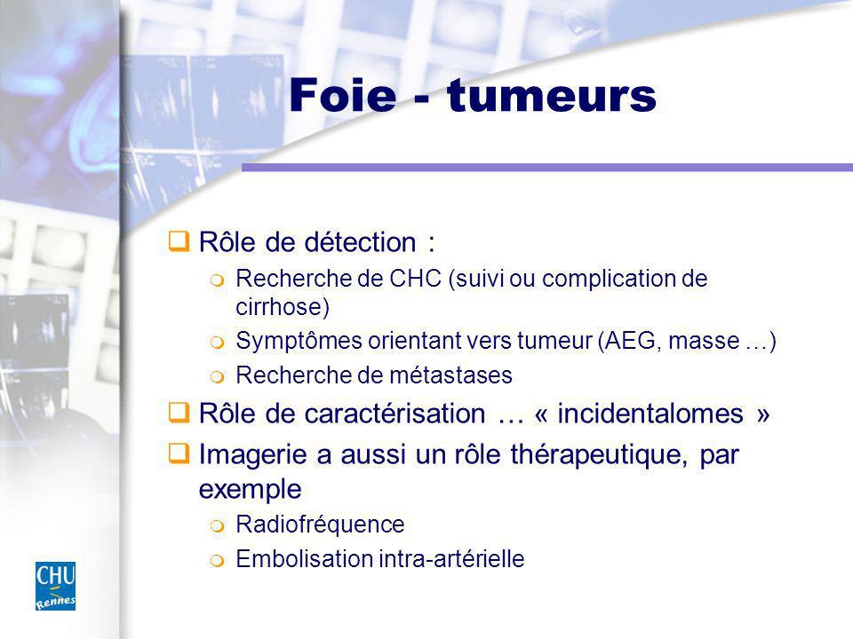 Foie - tumeurs Rôle de détection :
