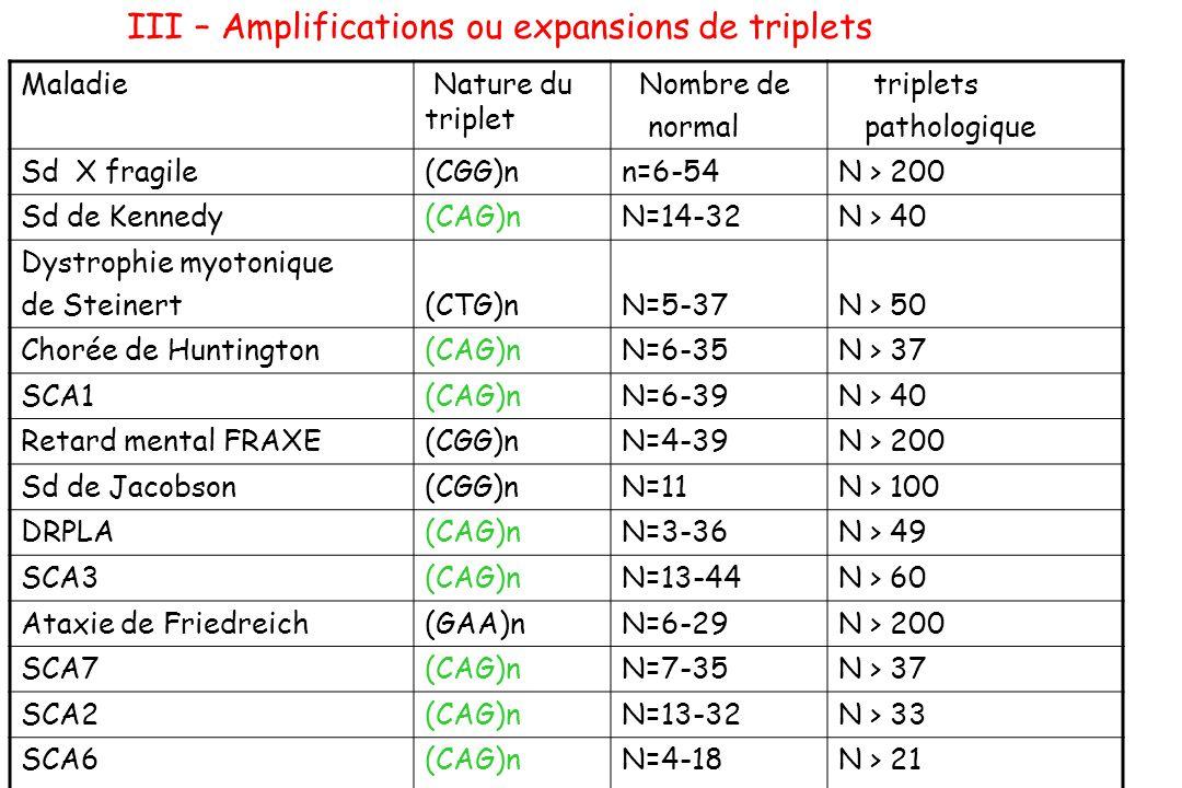 III – Amplifications ou expansions de triplets