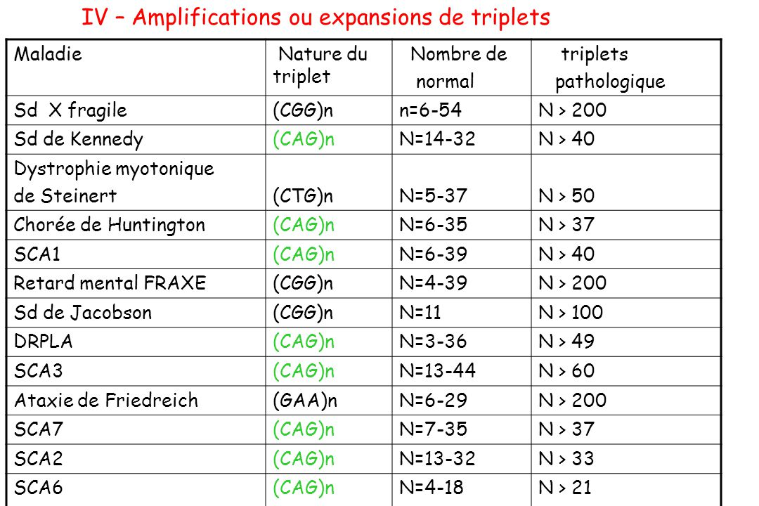 IV – Amplifications ou expansions de triplets