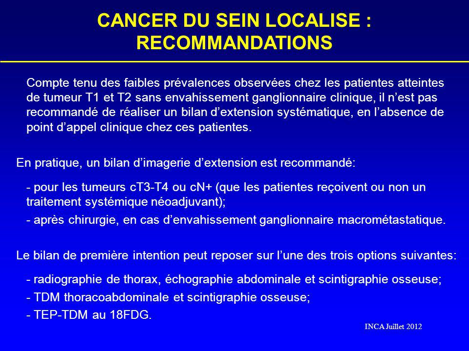 CANCER DU SEIN LOCALISE : RECOMMANDATIONS