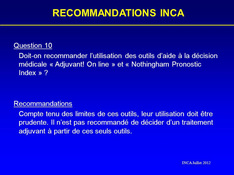 RECOMMANDATIONS INCA Question 10