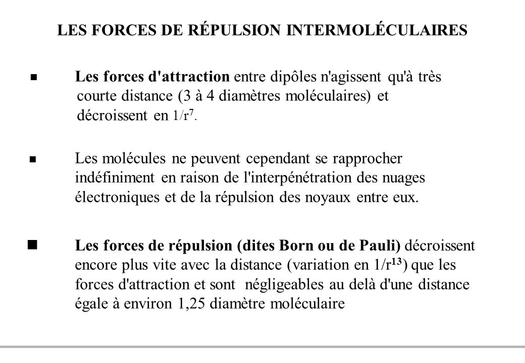 LES FORCES DE RÉPULSION INTERMOLÉCULAIRES