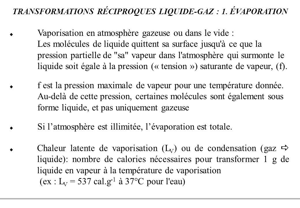 TRANSFORMATIONS RÉCIPROQUES LIQUIDE-GAZ : 1. ÉVAPORATION