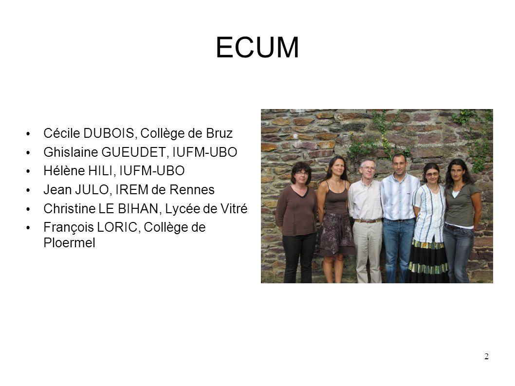 ECUM Cécile DUBOIS, Collège de Bruz Ghislaine GUEUDET, IUFM-UBO