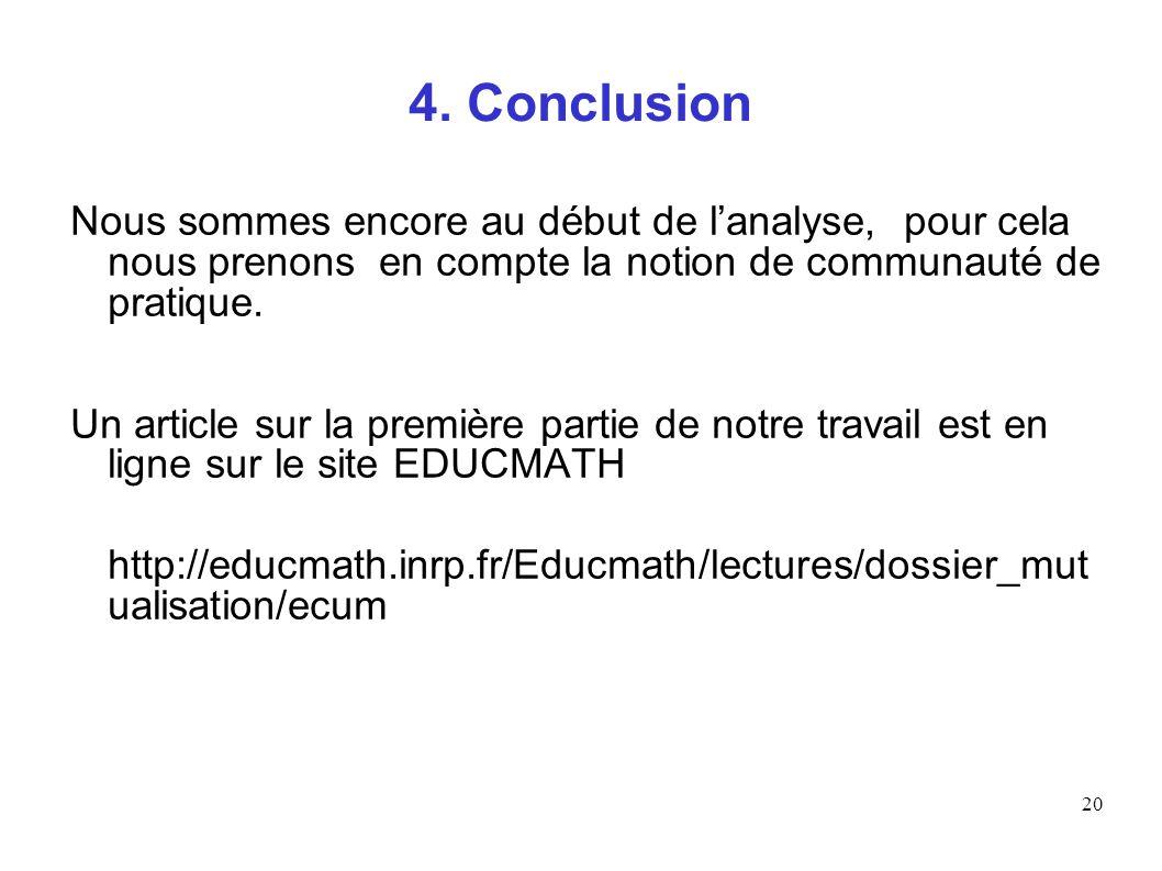 4. Conclusion Nous sommes encore au début de l'analyse, pour cela nous prenons en compte la notion de communauté de pratique.