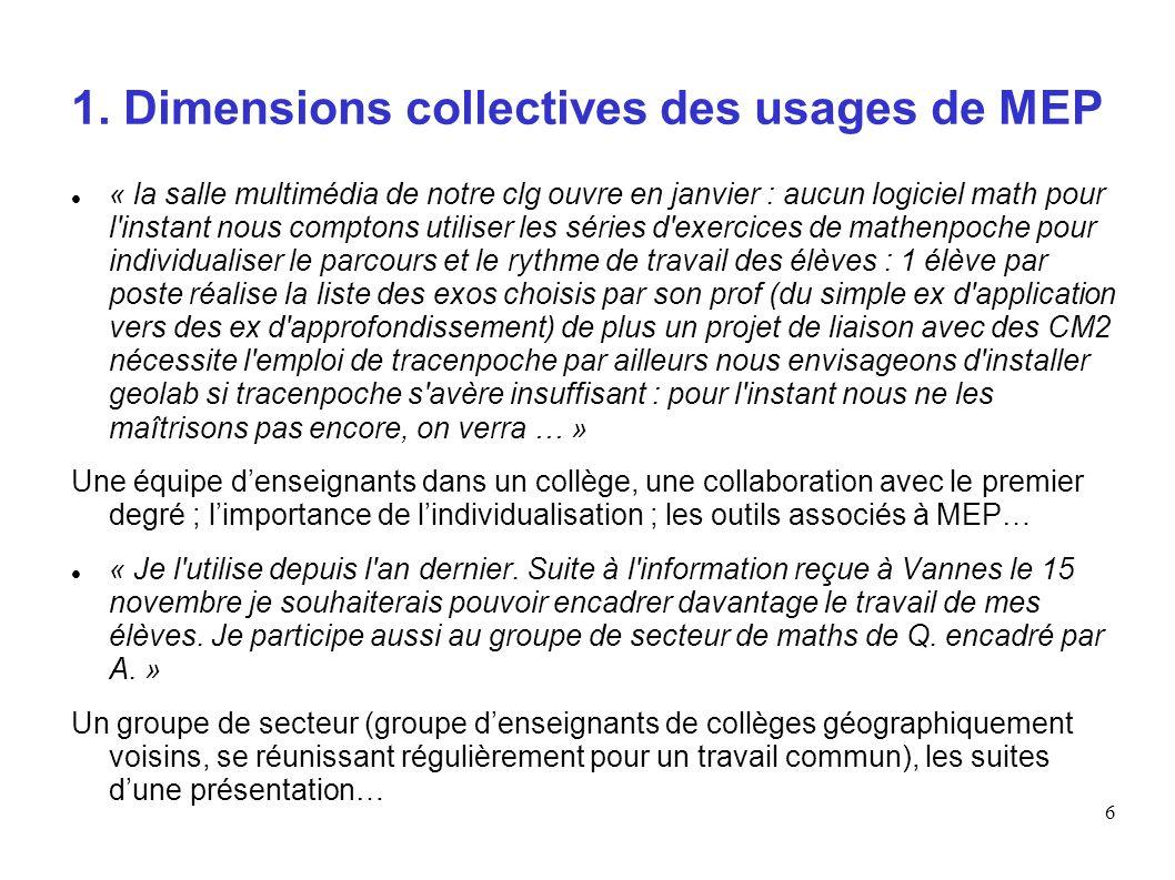 1. Dimensions collectives des usages de MEP