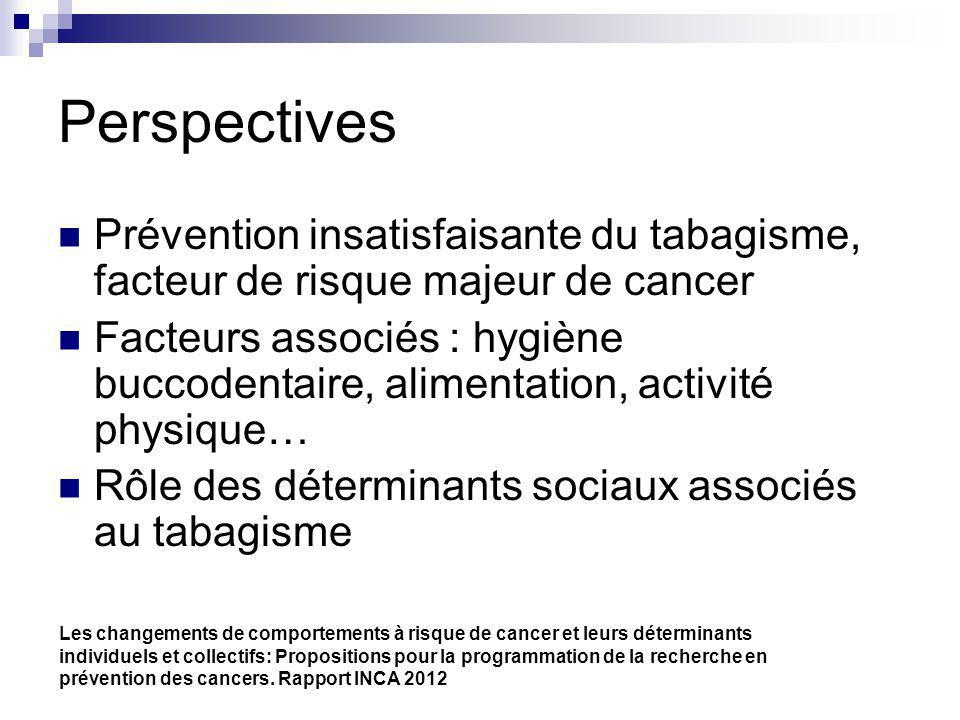 Perspectives Prévention insatisfaisante du tabagisme, facteur de risque majeur de cancer.